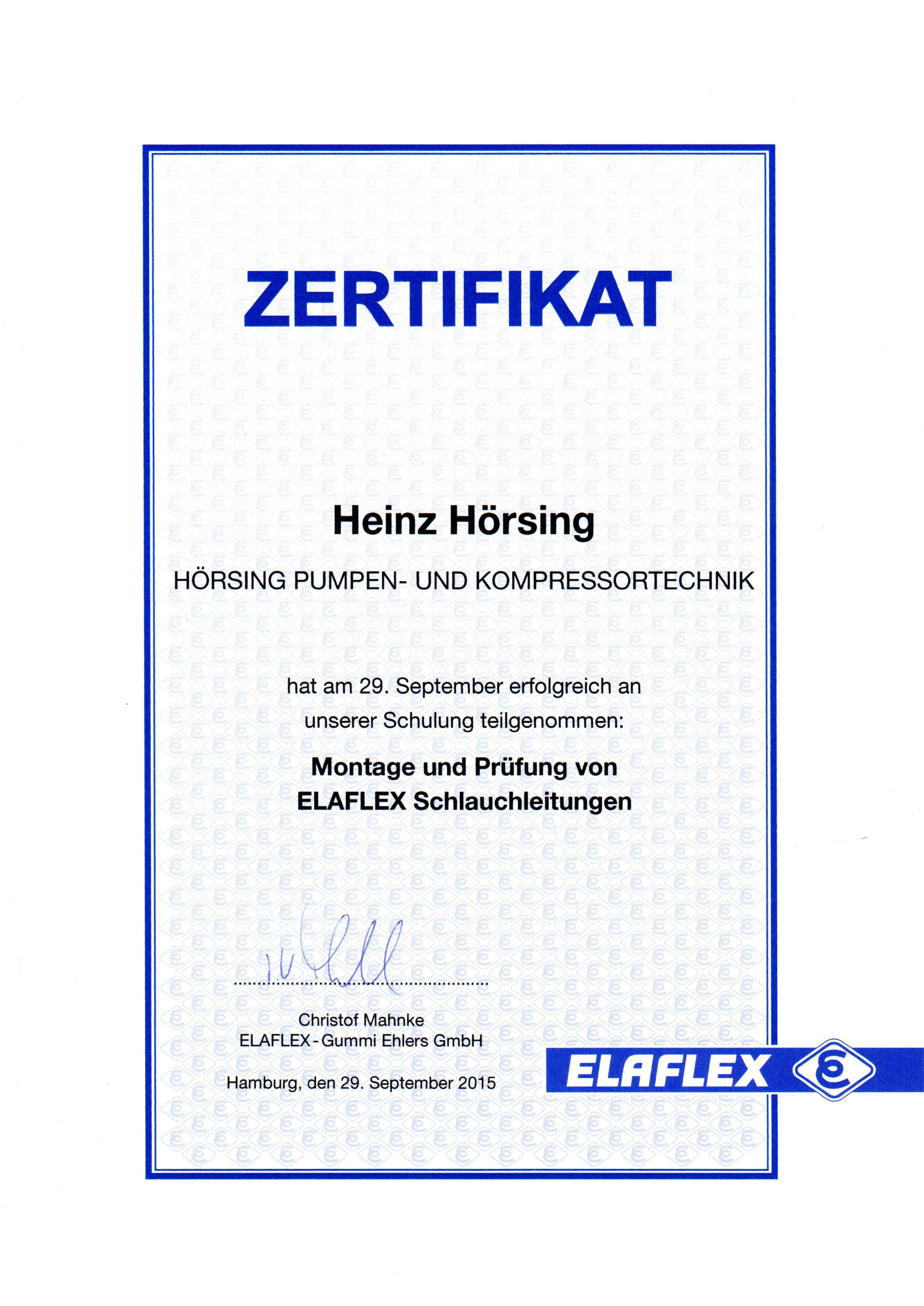 Zertifikat Schlauchprüfung